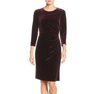Eliza J | Purple Velvet Ruched Dress